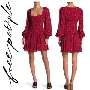 Free People Red Two Faces Print Mini Dress Sz. S/M